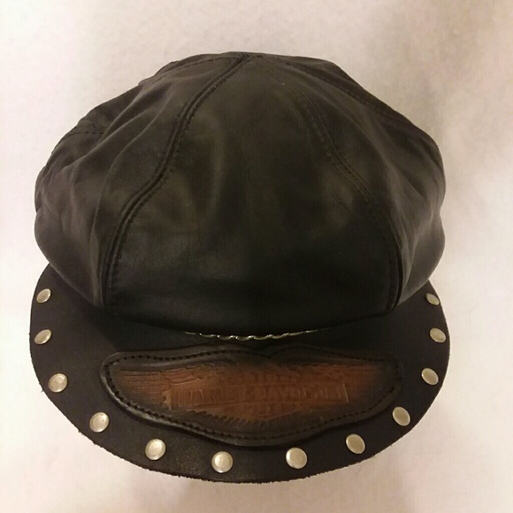 HARLEY DAVIDSON Leather Bike Hat - Cap Men  Womens 687938ca585